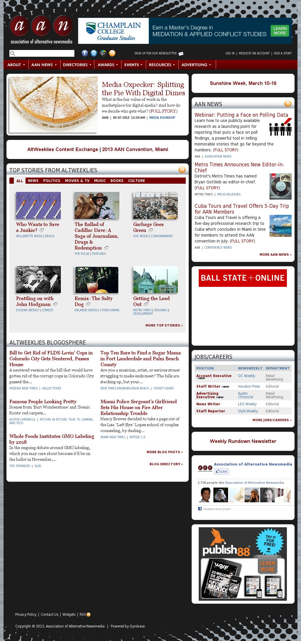 Association of Alternative Newsmedia at Monday March 11, 2013, 8 a.m. UTC