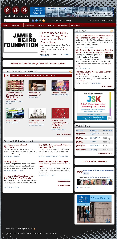Association of Alternative Newsmedia at Tuesday March 19, 2013, 8 a.m. UTC