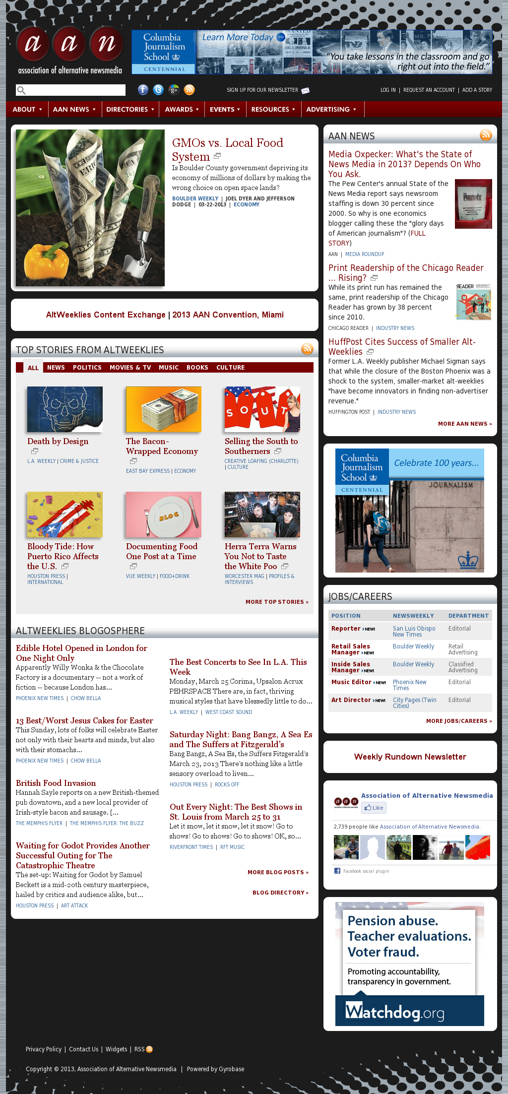Association of Alternative Newsmedia at Monday March 25, 2013, 7:02 p.m. UTC
