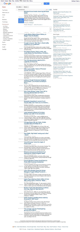 Google News: Entertainment at Tuesday Nov. 24, 2015, 12:07 p.m. UTC