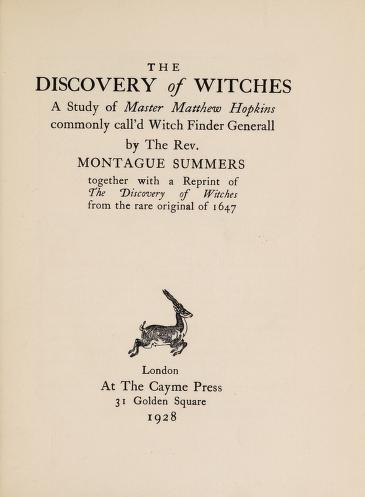 The discovery of witches By Summers, Montague IN PDf