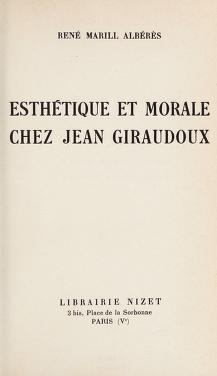Cover of: Esthetique et morale chez Jean Giraudoux | René Marill