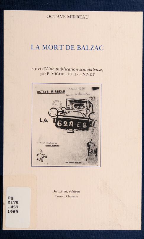 La mort de Balzac by Octave Mirbeau