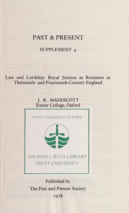 Law and lordship by John Robert Maddicott