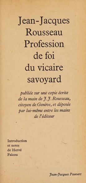 Cover of: Profession de foi du vicaire savoyard | Jean-Jacques Rousseau