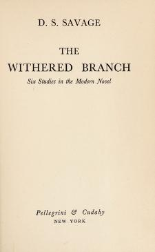 Cover of: The withered branch | Savage, D. S.